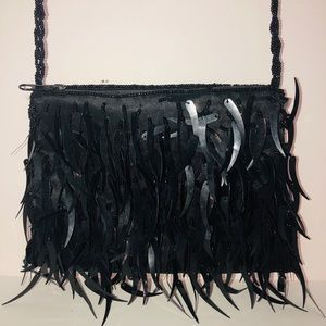 Handbags - Beautiful black beaded evening bag.